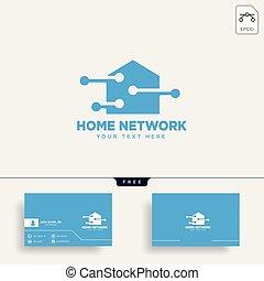 ネットワーク, イラスト, 接続, ベクトル, テンプレート, 家, ロゴ
