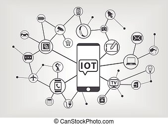 ネットワーク, インターネット, もの, (iot)