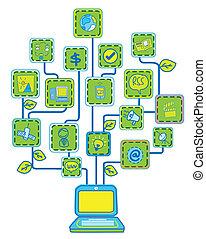 ネットワーク, インターネット, 木