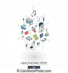 ネットワーク, インテグレイテド, ヘルスケア, デジタル, 3d, 網, 等大, 概念, icons.