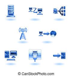 ネットワーク, コンピュータ, セット, グロッシー, アイコン