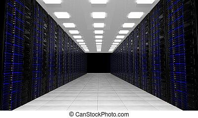ネットワーク, サーバー, 中に, データセンタ