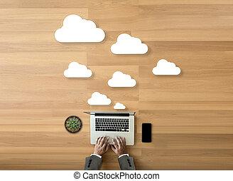 ネットワーク, サービス, 計算, データ記憶, 図, 技術, 雲