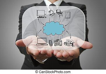 ネットワーク, ショー, ガラス, 板, ビジネスマン, 雲