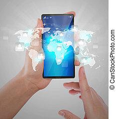 ネットワーク, ショー, 可動的なコミュニケーション, 現代, 手, 電話, 保有物, 社会, 技術