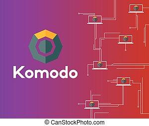 ネットワーク, シンボル, blockchain, 回路, 背景, komodo