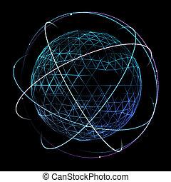 ネットワーク, スペース, 世界的である, 軌道, デザイン, デジタル