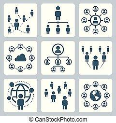 ネットワーク, セット, 人々, globalization, 社会, アイコン