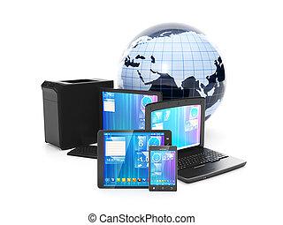 ネットワーク, タブレット, モビール, ラップトップ, 接続, pc, 単一, 電話, インターネット, ...