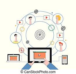 ネットワーク, タブレット, 人々, マーケティング, concept., 社会, ラップトップ, ビデオ, インターネット, smartphone.