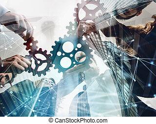 ネットワーク, ビジネス, ダブル, concept., 協力, 統合, 小片, チームワーク, 効果, チーム, gears., さらされること, 連結しなさい