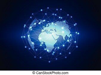 ネットワーク, ビジネス, 世界的である, 背景, ベクトル, 技術