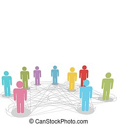 ネットワーク, ビジネス 人々, 接続, 連結しなさい, 社会, 線