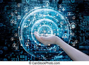 ネットワーク, ビジネス, 抽象的, 世界的な結線, 手を持つ, 円