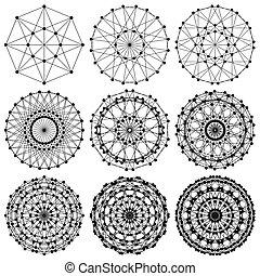 ネットワーク, フラクタル, dna, 分子, ...