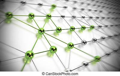 ネットワーク, ボール, effet, クロム, 多数, shp?res, 作曲する, 一緒に, 作られた, 緑, ぼやけ, いくつか, 材料, つながれる, 他