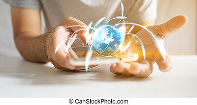 ネットワーク, 世界的である, concept.