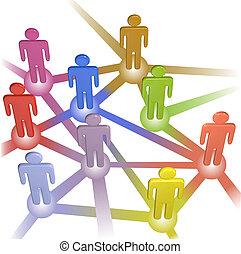 ネットワーク, 人々, 媒体, シンボル, 連結しなさい, 社会