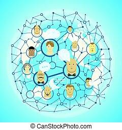 ネットワーク, 人々, 媒体, concept., 社会, ベクトル, コミュニケーション, 案, 抽象的