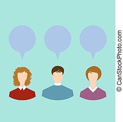 ネットワーク, 人々, 泡, スピーチ, チャット, 社会