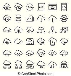 ネットワーク, 単純である, 貯蔵, ベクトル, 雲, アイコン