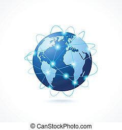 ネットワーク, 地球, アイコン
