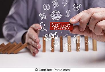 ネットワーク, 得なさい, started, concept., 若い, ビジネス, ∥ましょう∥, インターネット, ビジネスマン, 技術, ショー, word: