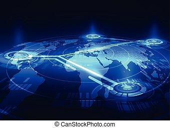 ネットワーク, 抽象的, デジタル, ベクトル, 背景, 社会, 技術
