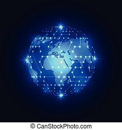 ネットワーク, 抽象的, 世界的である, 背景, ベクトル, 技術