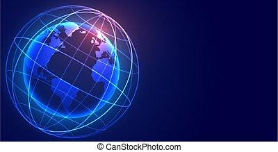 ネットワーク, 接続, デジタル, 地球, 世界的である, 技術, 背景