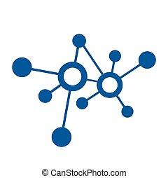 ネットワーク, 接続, ベクトル, デジタル, ロゴ, アイコン