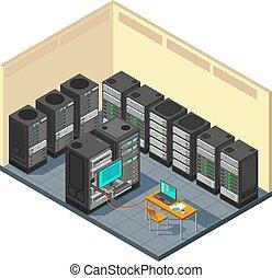 ネットワーク, 横列, 部屋, コンピュータ, 等大, equipments, サーバー