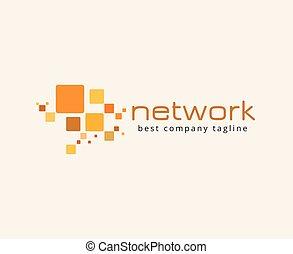 ネットワーク, 決め付けること, concept., logotype, ベクトル, テンプレート, ロゴ, 抽象的, アイコン