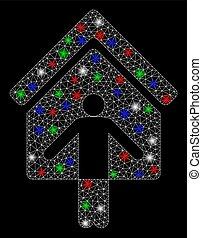 ネットワーク, 火炎信号, wellcome, 家, 所有者, 点, 噛み合いなさい, 明るい