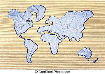 ネットワーク, 現代, ビジネス, 世界的である, 接続される, 世界