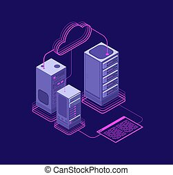 ネットワーク, 解決, ベクトル, datacenter, ウェブサイト, hosting, 管理上, サポート, サービス, 概念, 等大