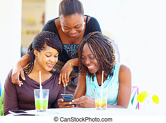 ネットワーク, 談笑する, アフリカ, 社会, 友人, 幸せ