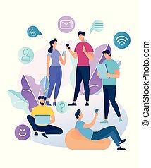 ネットワーク, 談笑する, 人々, 若い, 特徴, 社会