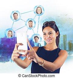 ネットワーク, 談笑する, 社会