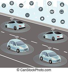 ネットワーク, 車, 無線, 自治, 自動車