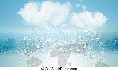 ネットワーク, concept., 世界的である