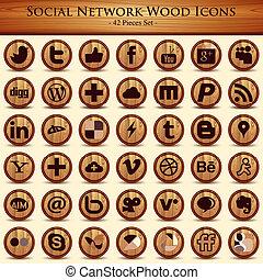 ネットワーク, icons., ボタン, 木手ざわり, 社会