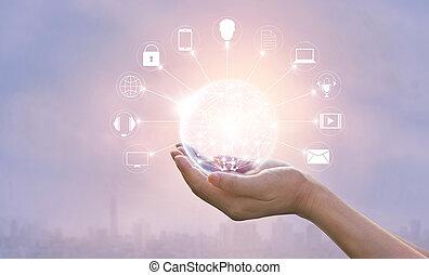 ネットワーク, omni, 世界的な結線, 手を持つ, 円, チャンネル