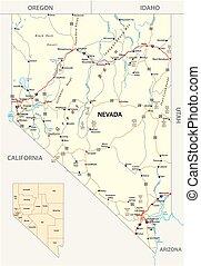 ネバダ, 管理上, 道, ハイウェー, 私達, 通り, 地図, 本, 州連帯