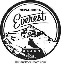 ネパール, 山, 屋外, illustration., chomolungma, ヒマラヤ山脈, badge., 陶磁器...