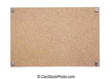 ネームプレート, ∥あるいは∥, 白い壁, 隔離された, 木製である, 印