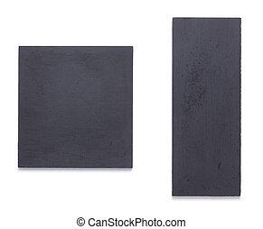 ネームプレート, ∥あるいは∥, 黒, 白い壁, 隔離された, 木製である, 印