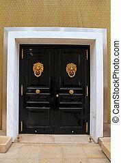 ノブ, ドア, 木製である, ライオン, 形, 黒, モナコ, 真ちゅう