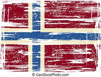 ノルウェー語, ベクトル, グランジ, イラスト, flag.