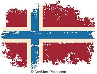 ノルウェー語, ベクトル, グランジ, illustration., flag.
